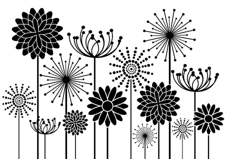 black vector flowers silhouettes isolated on white background Vector