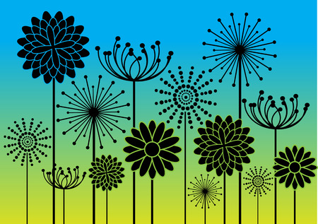 black flowers silhouettes on colorful background Vector