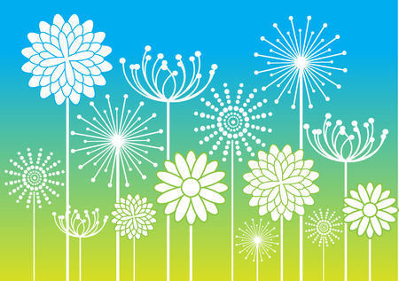 white flowers silhouettes on colorful bright background Vector