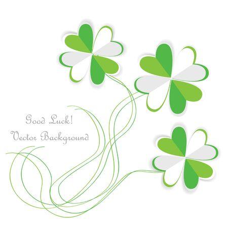 clovers: paper four leaf clovers Illustration