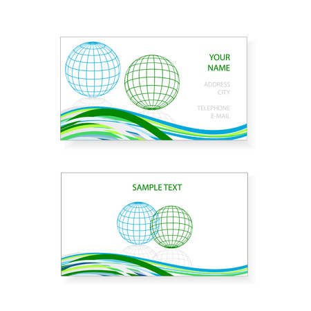 visiting card design: visiting card design with earth globes and waves