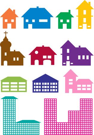 case colorate: Set di case colorate icone