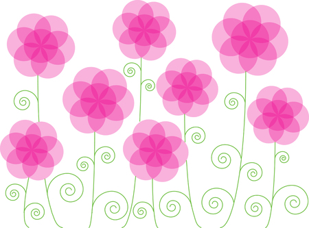 blooming: pink blooming flowers Illustration