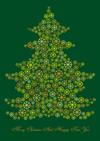 merry christmas: christmas tree of snow flakes on green background