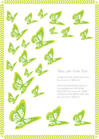 romantic: romantic green butterflies frame