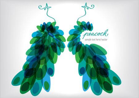 pluma de pavo real: dos pavos reales siluetas Vectores