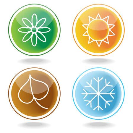 four seasons: set of four seasons icons Illustration