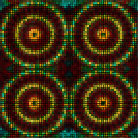 hypnotism: vector mosaic tiles mandalas background Illustration