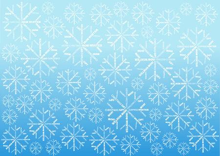 snow flakes: kleur Kerst behang met woorden sneeuwvlokken