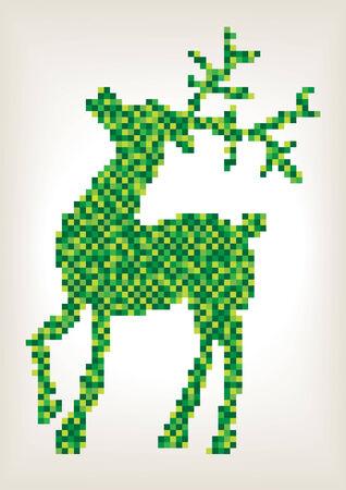 color vector pixels christmas reindeer silhouette Illustration