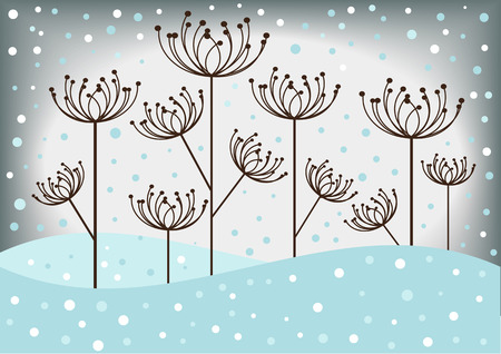 winter scene: color vector winter scene Illustration