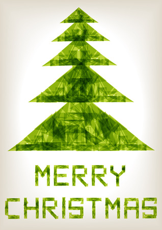 origami paper: origami paper transparent christmas tree Illustration