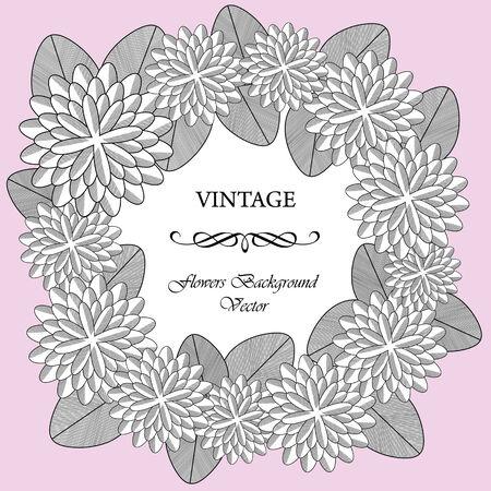 color vector vintage flowers wreath Illustration