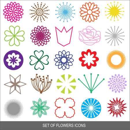 set of vector flowers icons Vector