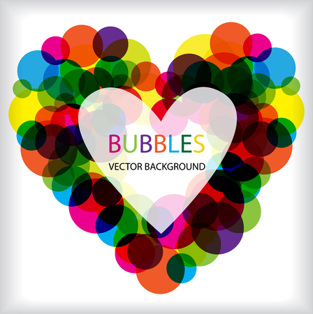 complimentary: bright vector bubbles heart frame