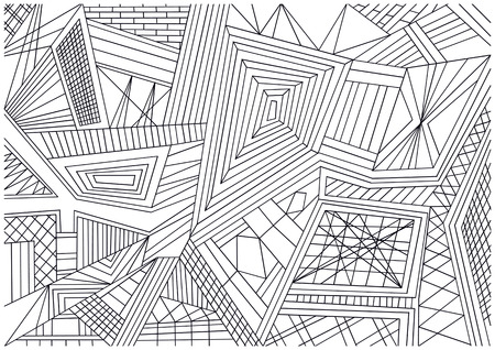 black and white chaos lines background Vector