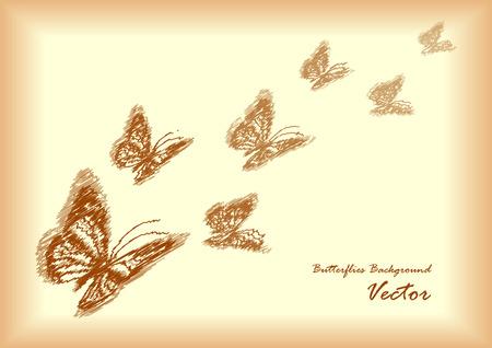 papier a lettre: lettre de papier vintage romantique avec papillons
