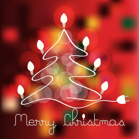 decorated christmas tree: color vector christmas tree with lighting bulbs