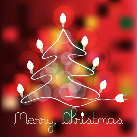 color vector christmas tree with lighting bulbs