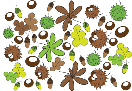 conkers: color autumn background Illustration