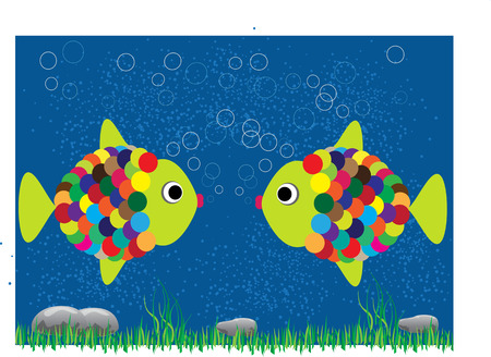 pebles: two cartoon fish