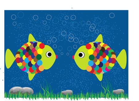 under water grass: two cartoon fish