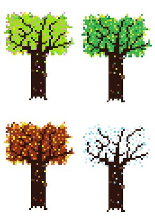 four season: pixelated four season trees