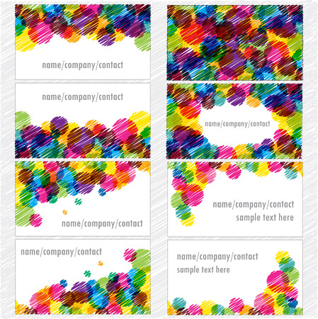 visiting: set of visiting cards with bright bubbles
