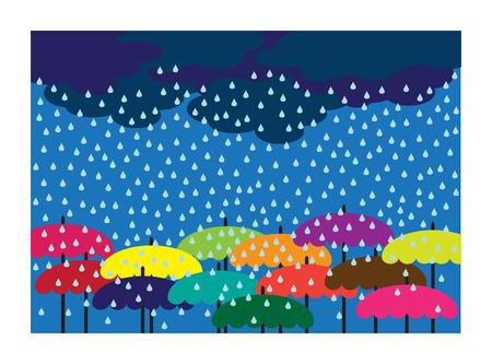 gotas de agua: fondo brillante vector de lluvia con paraguas de colores
