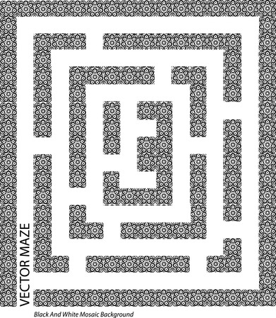 lost in space: black and white maze concept Illustration