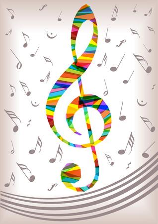 treble clef: bright vector music notes treble Illustration