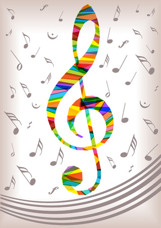 bright vector music notes treble Illustration