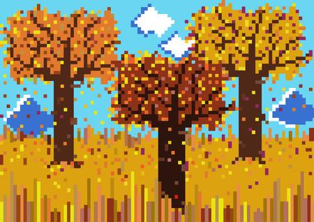 autumnal: mosaic vector autumnal scene