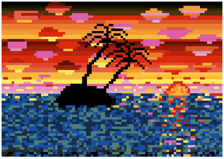 mosaic tiles tropical island silhouette in sunset Çizim