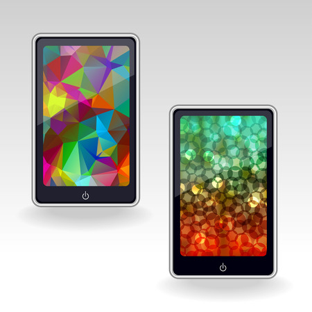 models: smartphone models with abstract bright vector wallpapers