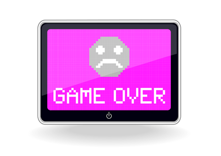 realistic vector tablet design with game over icon