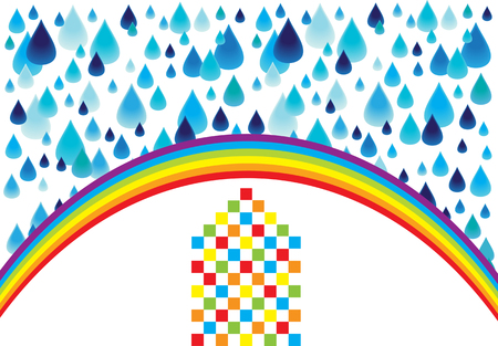 Color vector squares house icon with rainbow and rain drops isolated on white background