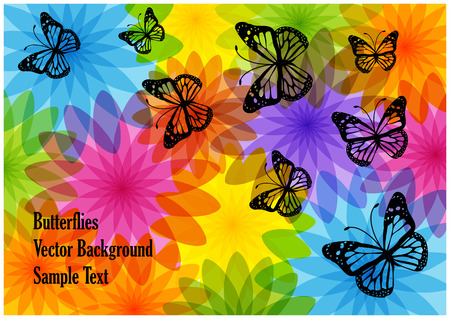 Bright vector butterflies and flowers silhouettes Çizim