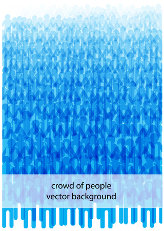 Blue vector flowing people silhouettes, crowd of people illustration