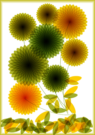 Bright vector silhouettes of flowers isolated on white background
