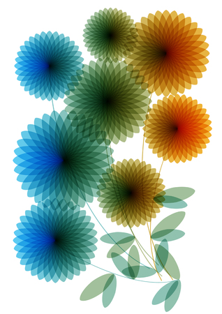 Color vector silhouettes of flowers isolated on white background