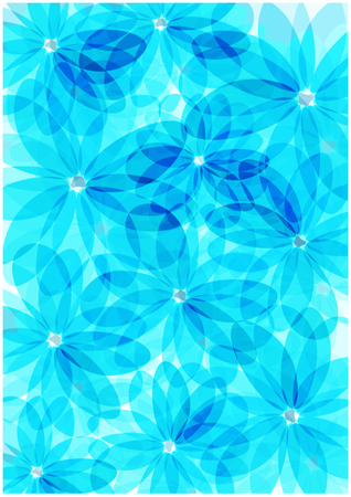 Abstract vector flowers silhouettes background Çizim