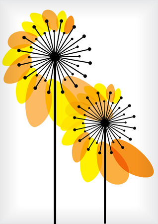 Beautiful vector silhouettes of dandelions isolated on white background Çizim