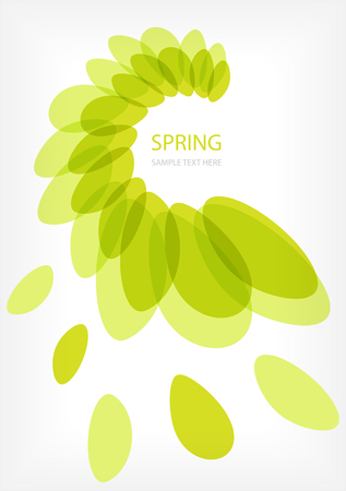 Green vector leaves frame with place for your text Çizim