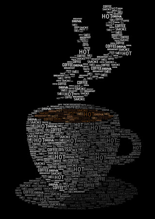Coffee cup silhouette, vector illustration of words