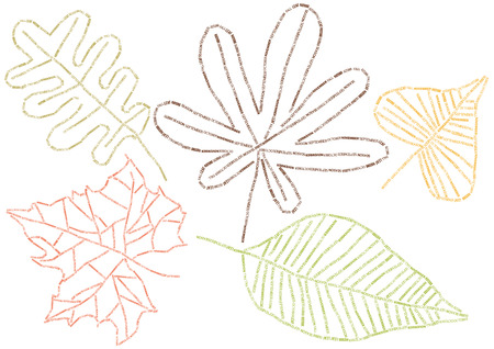 set of vector leafs of alphabet letters Illustration