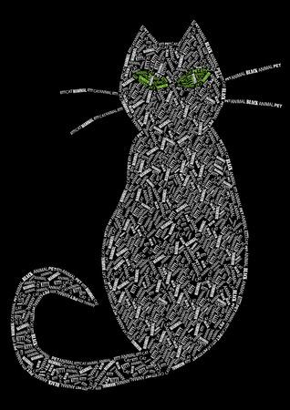 vintage vector cat silhouette of words