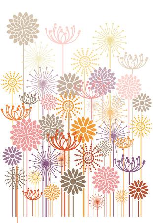 花のビンテージ ベクトルの背景  イラスト・ベクター素材