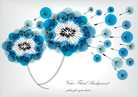 dandelion: bright vector dandelions with blue bubbles