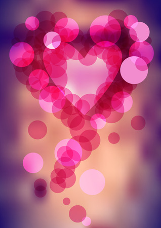 complimentary: heart shape with bubbles on vector blurry background